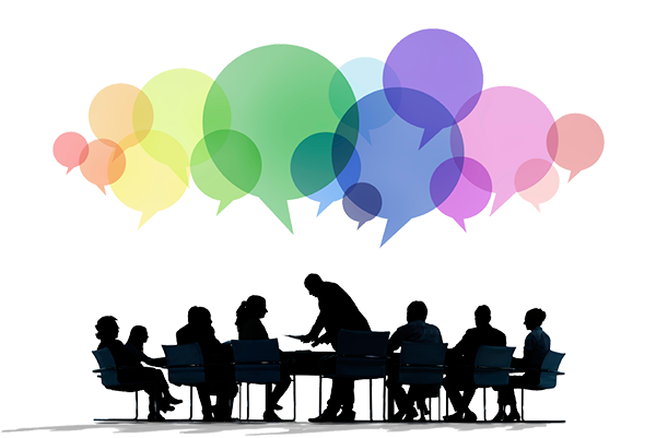 Group of people with creative speech bubbles